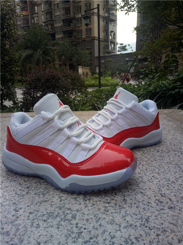2016 Kids Air Jordan 11 Low White Red Shoes