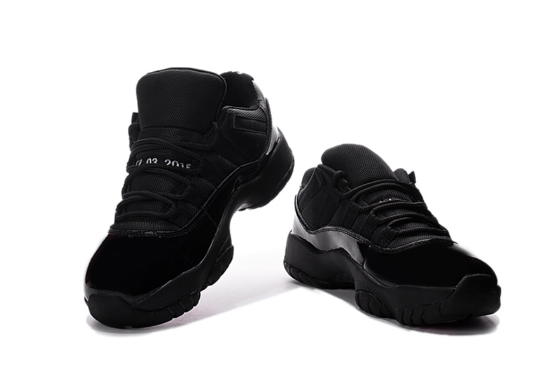 2016 Jordan 11 Retro All Black Pink Shoes
