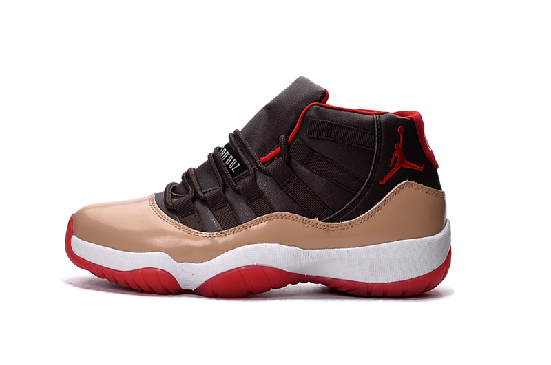 2016 Jordan 11 Retro Black Brown White Red Shoes