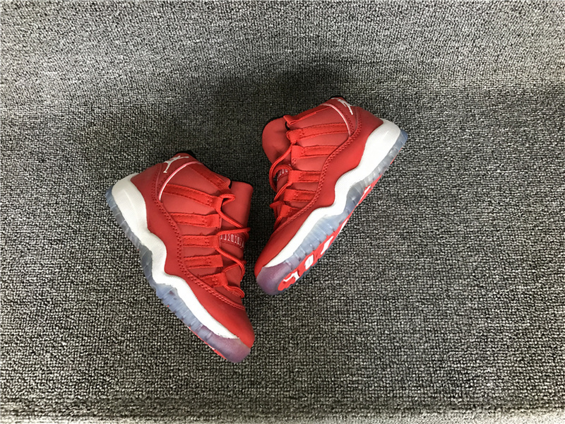 2016 Jordan 11 Retro Hot Red White Shoes For Kids