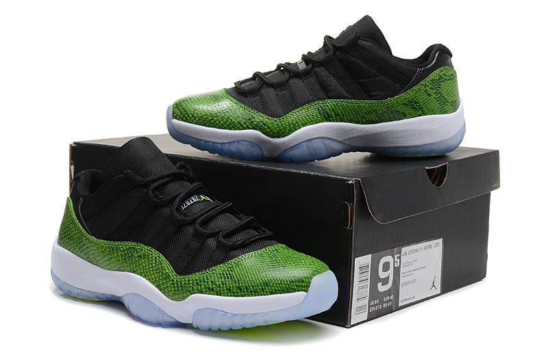 New Air Jordan 11 Retro Low Black Green Snake Skin White Shoes