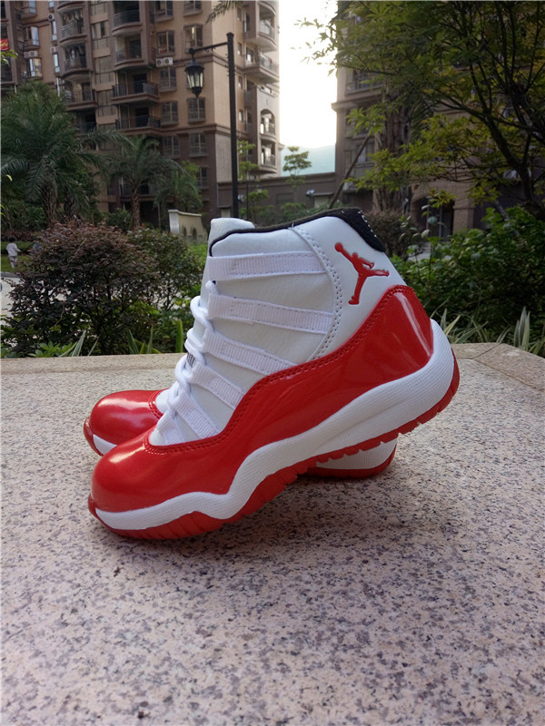 2016 Jordan 11 White Red Shoes For Kids