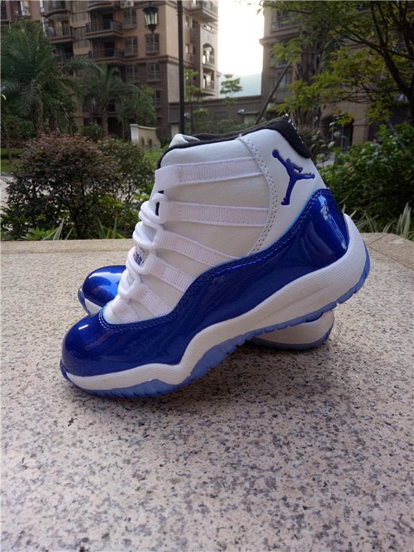 2016 Jordan 11 White Shine Blue Shoes For Kids