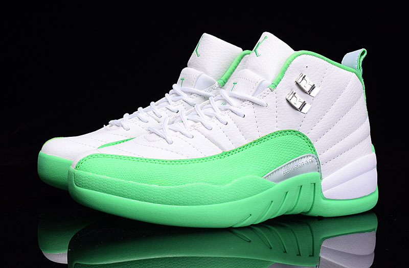 2016 Jordan 12 GS White Green Shoes
