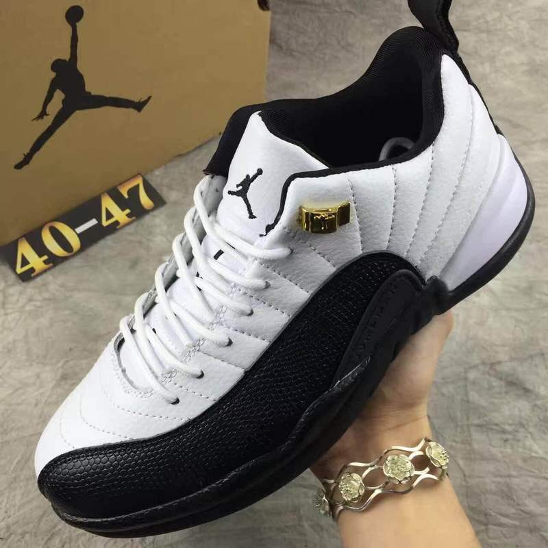 Mens Air Jordan Retro 12 White Black shoes