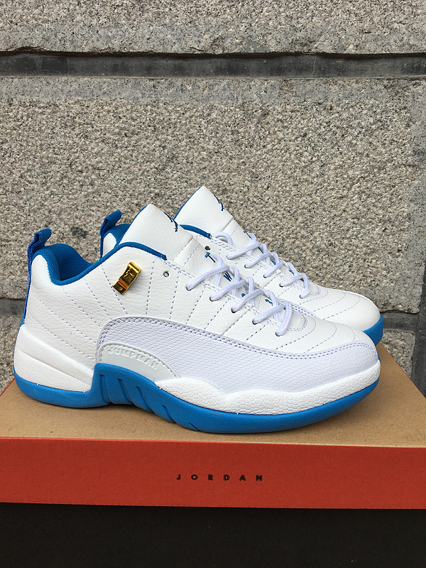 2016 Air Jordan 12 Low White Blue Shoes