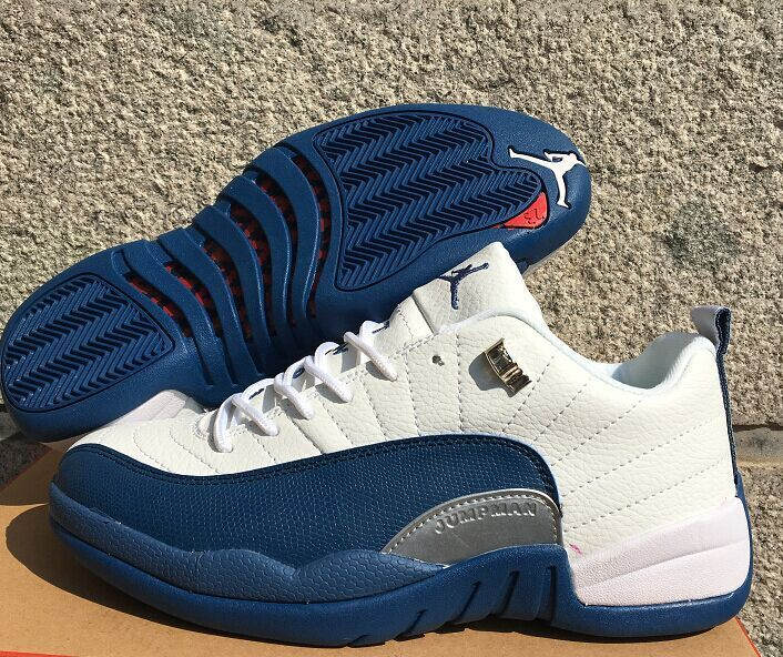 2016 Air Jordan 12 Low White Frech Blue Shoes