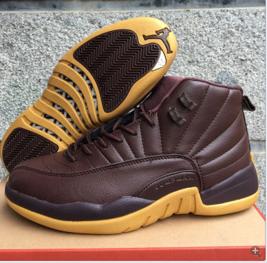 2017 Jordan 12 Retro Coffe Yellow Shoes