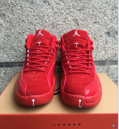 2016 Jordan 12 Retro Deer Leather All Red Shoes