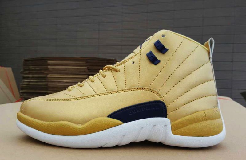 2017 Jordan 12 Retro Gold White Black Shoes