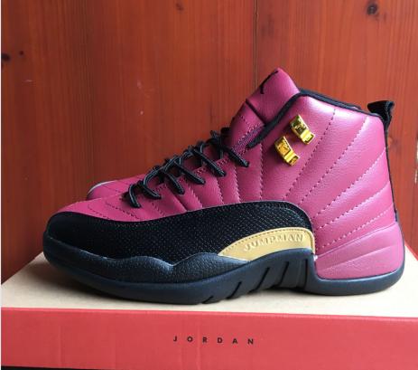 2017 Jordan 12 Retro Purple Black Gold Shoes