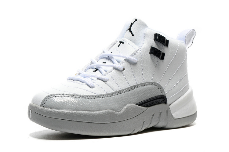 2016 Jordan 12 Retro White Grey Black Shoes For Kids