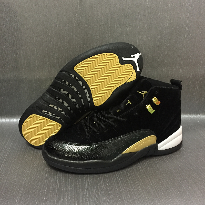 2017 Jordan 12 Velvet Black Gold Shoes