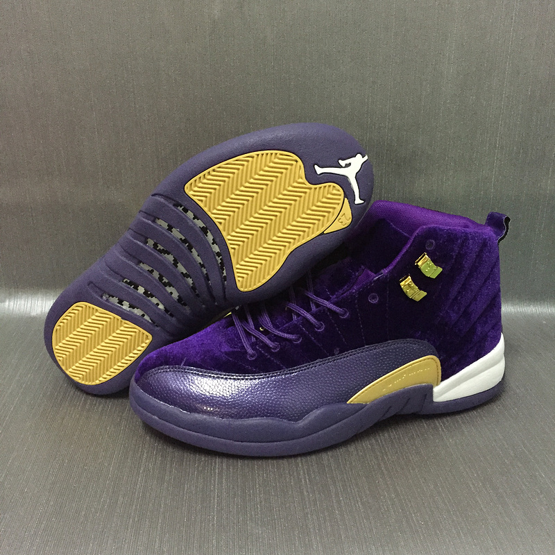 2017 Jordan 12 Velvet Purple Gold Shoes