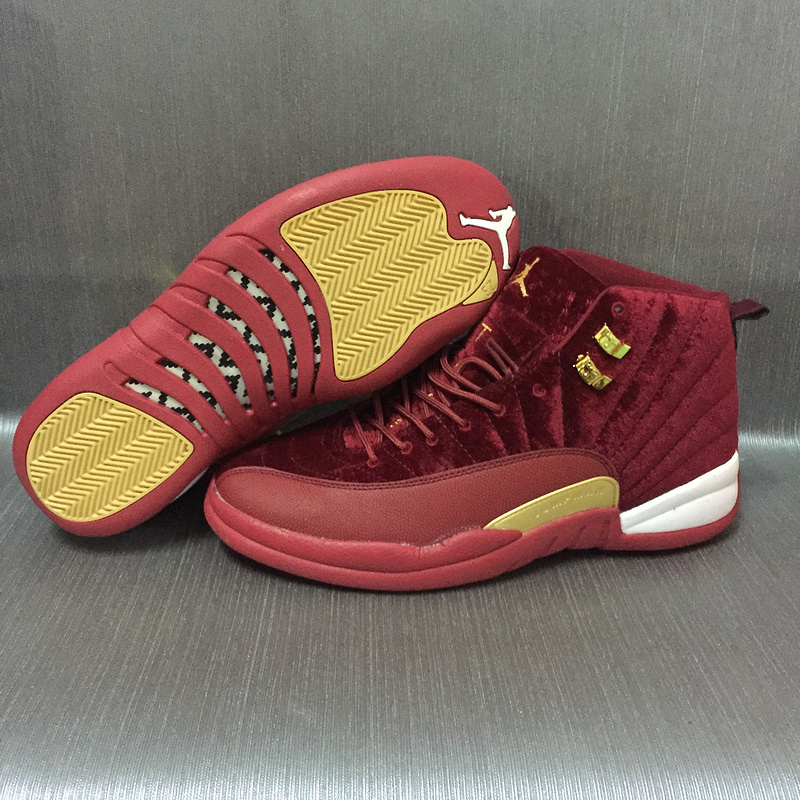 2017 Women Jordan 12 Velvet Wine Red Gold Shoes
