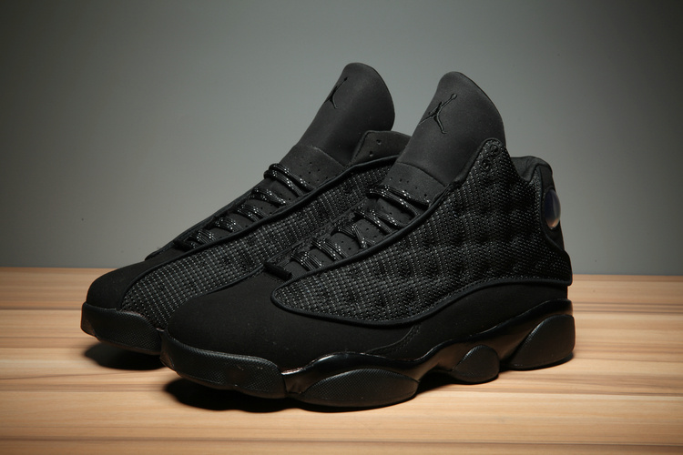 2017 Air Jordan 13 All Black Cat 3M Shoes