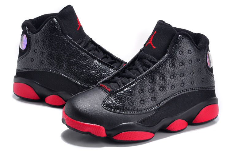 2015 New Black Red Jordans 13 For Kids