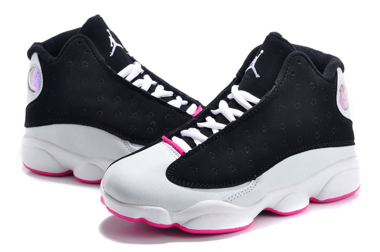 New Kids Air Jordans 13 Black White Pink