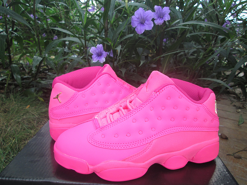 2016 Jordan 13 Low GS All Pink Shoes