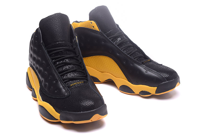 2017 Jordan 13 Retro Black Yellow Crocodile Pattern Shoes