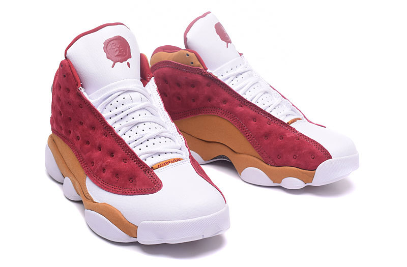 2017 Jordan 13 Retro White Wine Red Yellow Shoes