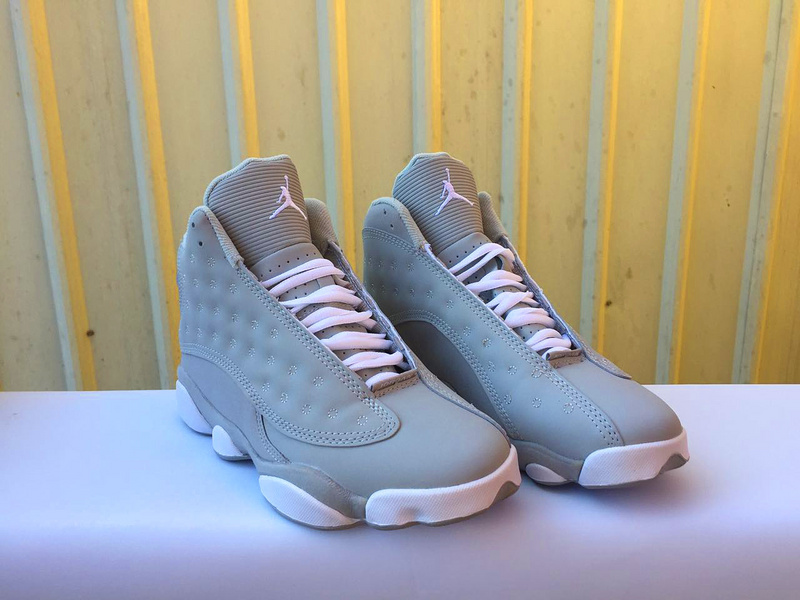 2017 Women Air Jordan 13 Wolf Grey White Shoes