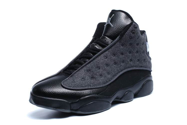 2016 Jordan 13 Wool All Black Winter Shoes