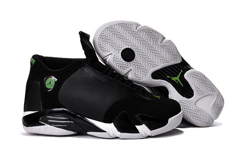New Air Jordan 14 Black White Green Shoes