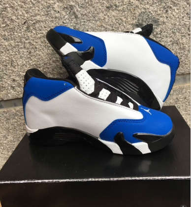 2016 Jordan 14 White Blue Black Shoes For Kids