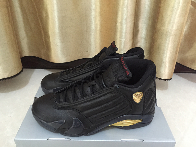 2017 Jordan 14 Champion Black Gold Shoes