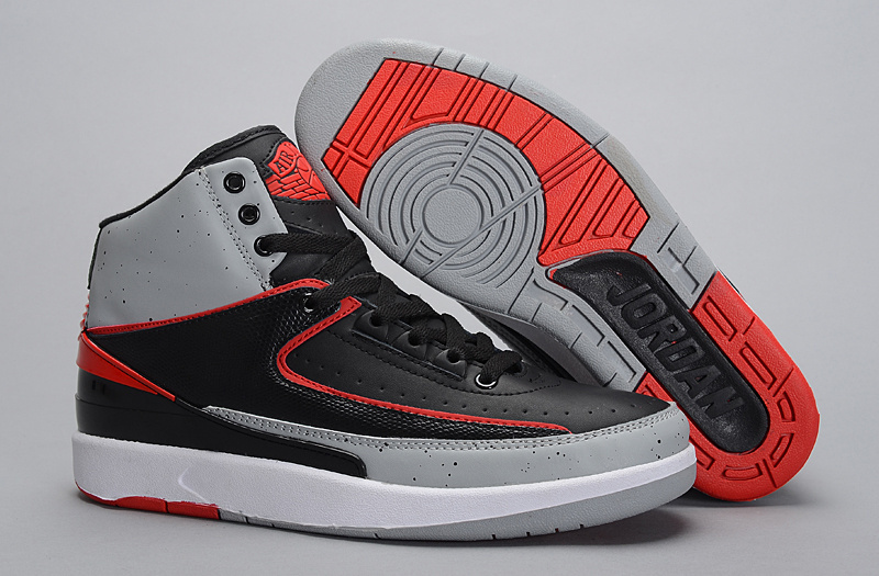 New Air Jordan 2 Retro Black Grey Red Shoes