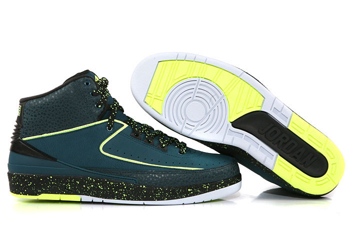New Air Jordan 2 Retro Deep Blue Black Green Shoes