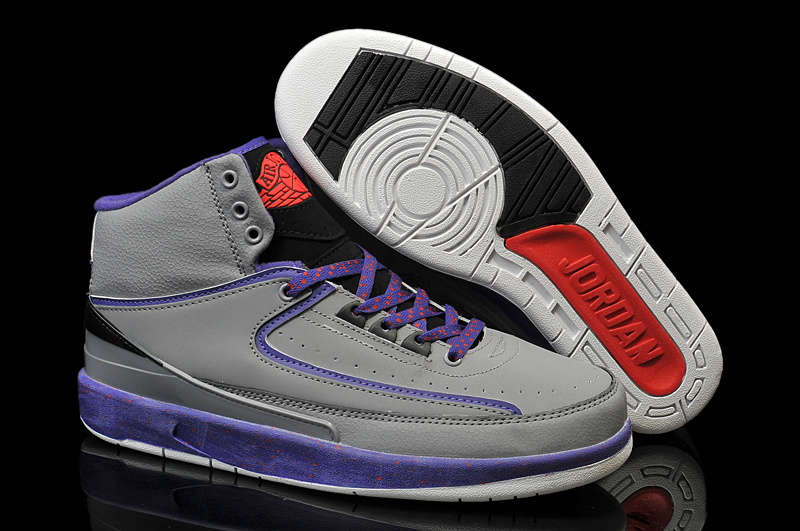 New Air Jordan 2 Retro Grey Purple Red Shoes
