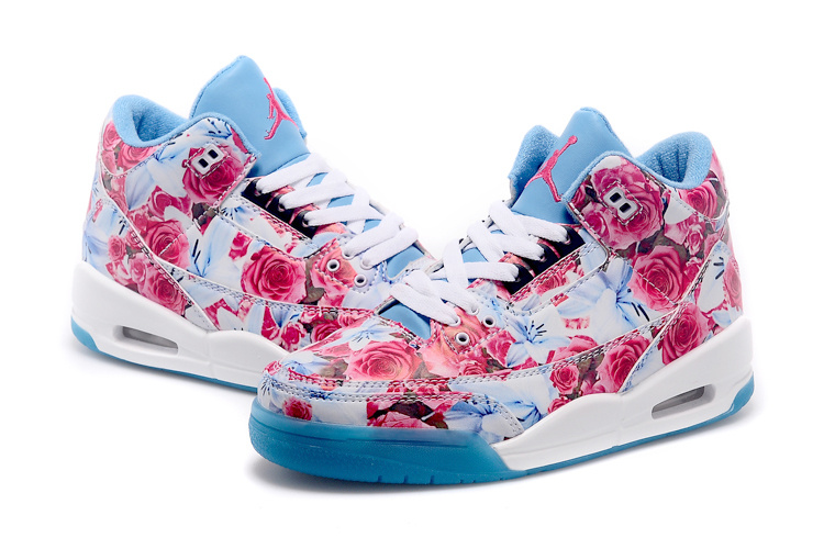 New Air Jordan 3 Red Bbaby Blue White Shoes For Women