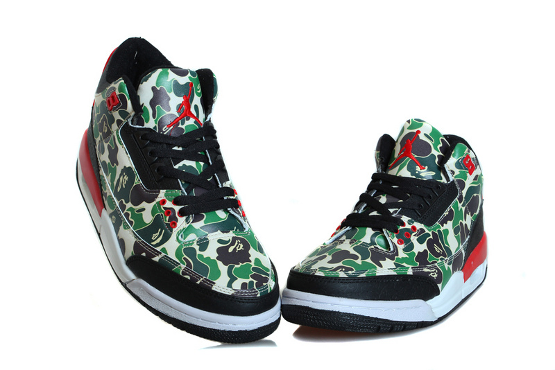 2015 Air Jordan 3 Retro Hero Warrior Green Black Red Shoes