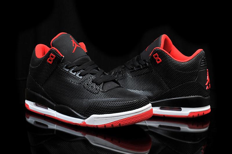 2015 Cheap Real Air Jordan 3 Retro PVC Grey Black Red Shoes