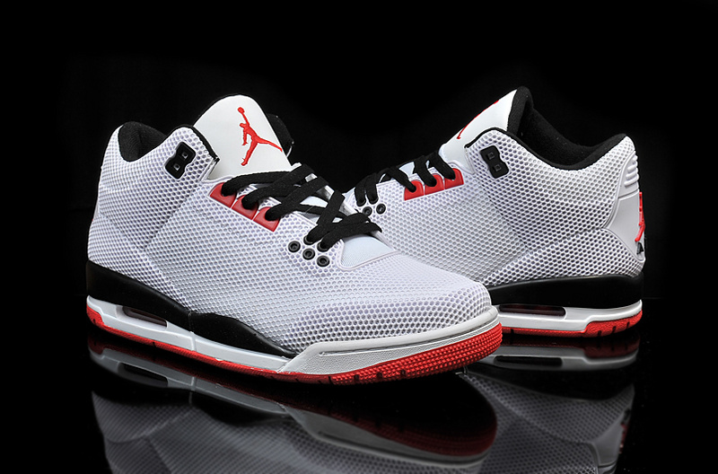 2015 PVC Air Jordan 3 Retro Grey Black Red Shoes