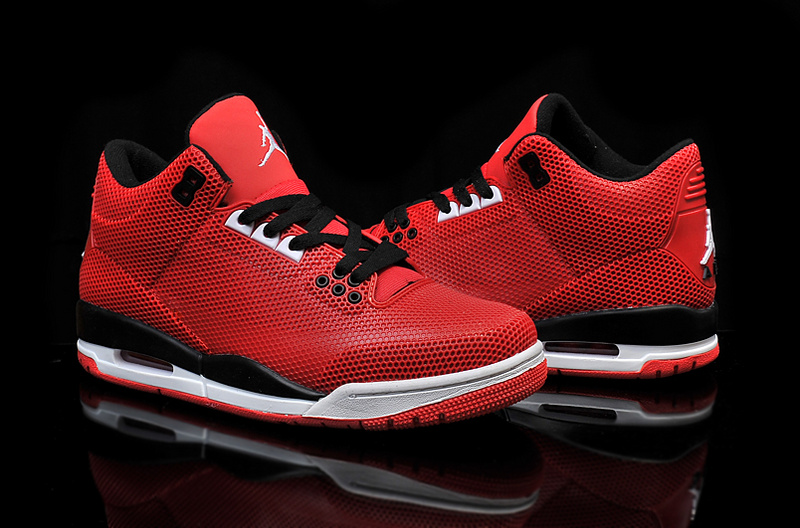 2015 PVC Air Jordan 3 Retro Red Black White Shoes