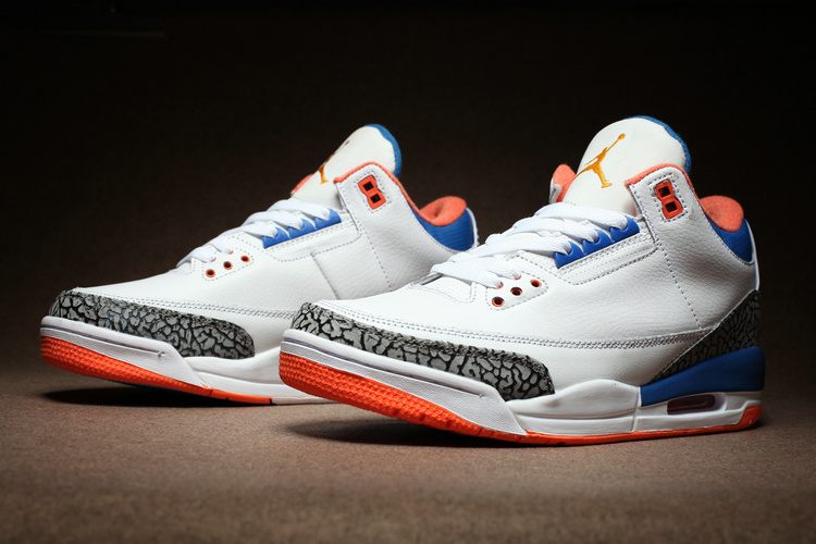 2016 Air Jordan 3 Retro White Cement Grey Blue Orange Nike Air Logo