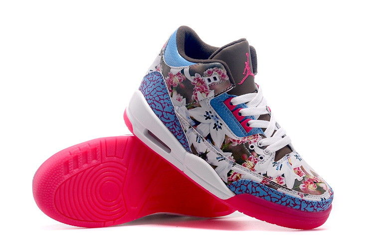 New Air Jordan 3 White Blue Red Shoes For Women