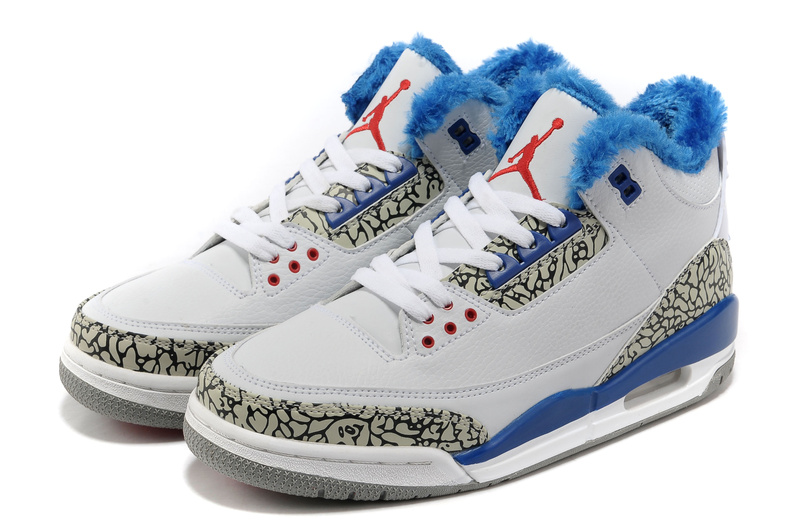 New 2012 Wool Air Jordan 3 White Blue Grey Cement Shoes
