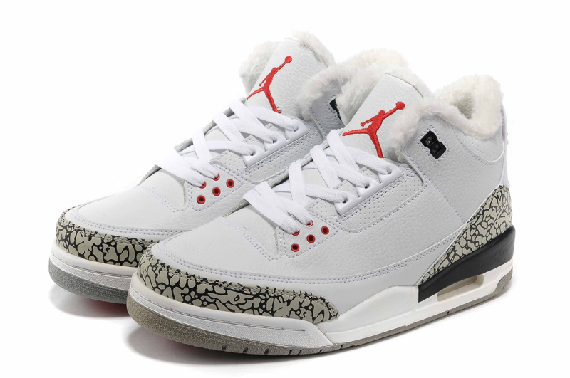 New 2012 Wool Air Jordan 3 White Grey Cement Shoes