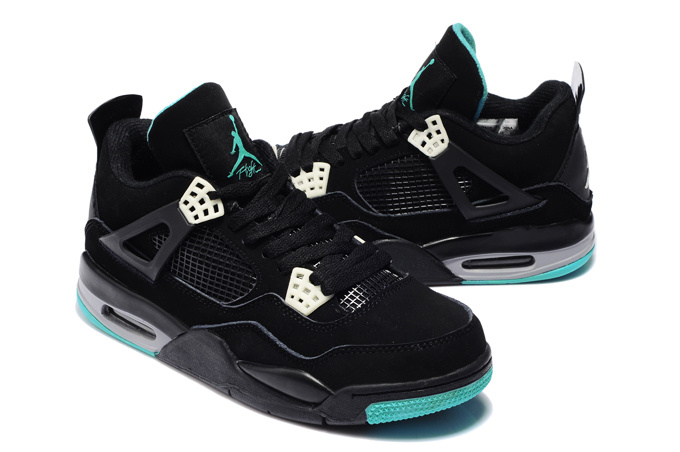 New Air Jordan 4 Black Blue Shoes