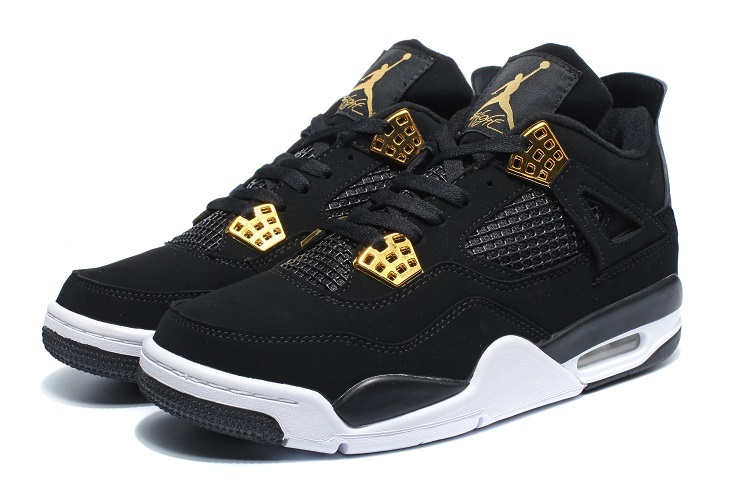 2016 Air Jordan 4 Black Gold White Shoes