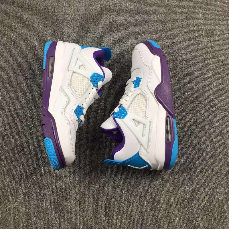 2016 Women Jordan 4 Hornets White Blue Purple Shoes