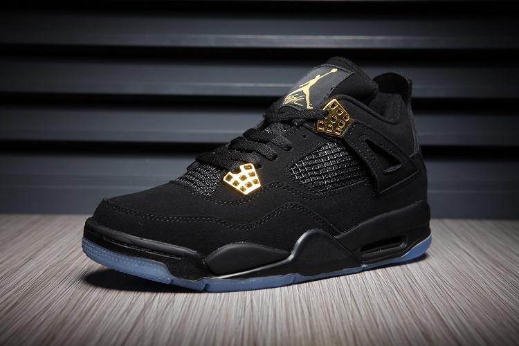 2016 Jordan 4 Retro Black Gold Transparent Sole Shoes