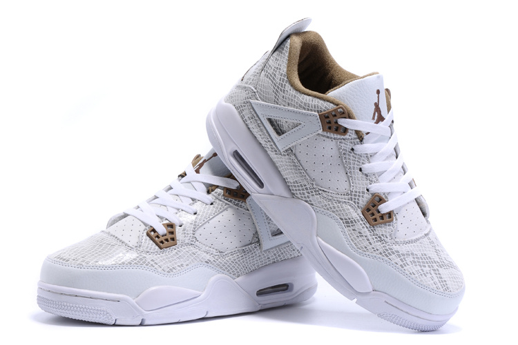 2015 Air Jordan-4 Retro Snakeskin White Yellow Shoes