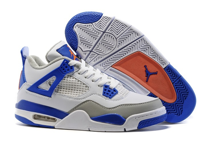 New Air Jordan 4 Retro White Blue Orange Shoes