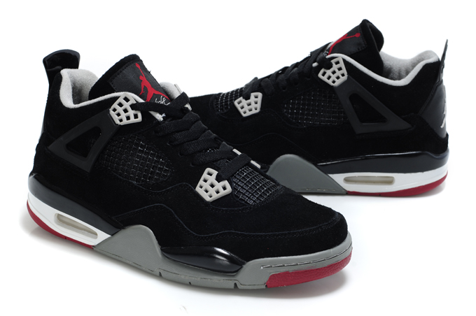 Air Jordan 4 Suede Dark Black Grey White Red