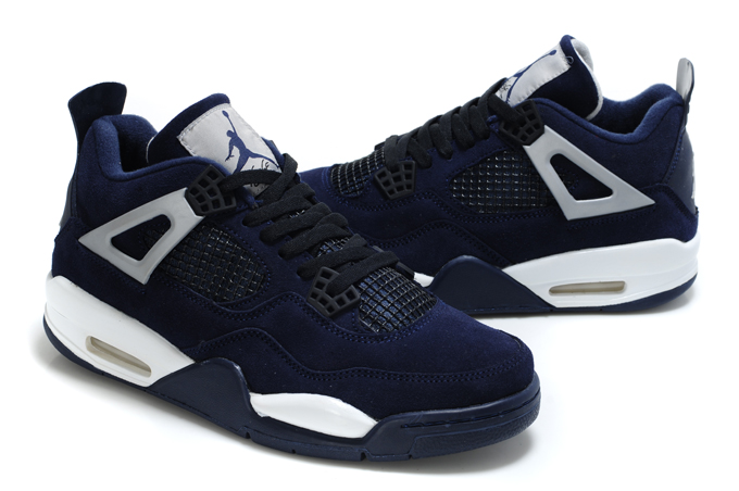 Air Jordan 4 Suede Dark Blue White Black